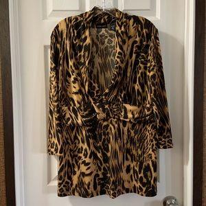 New York & Co Cheetah Print V Neck Blouse XL